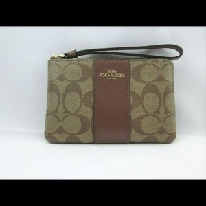 Coach Corner Zip Wristlet Signature Khaki Saddle